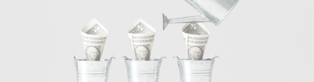 watering money growing as plant