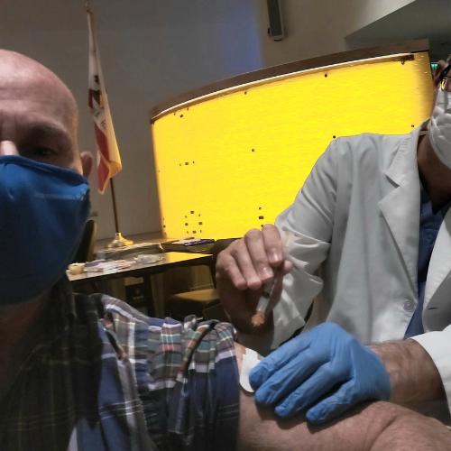 Dr. Katz receiving vaccine